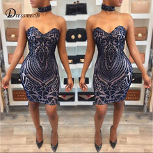Buy DRESSMECB Women Elegant Halter Sequin Short Party Dress Sleeveless Night Club Casual Mini Backless Dresses Sexy Summer Vestidos