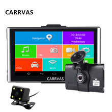 7 inch Android Car GPS navigator MTK8127 Quad Core 1080P Car DVR Recorder Dual Camera WIFI Bluetooth AV-IN Navigation free maps(China)