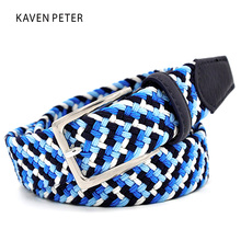 Italian Design Mens Leather Braided Elastic Stretch Cross Buckle Casual Golf Belt Waistband of Four Color Elastic Mixed Braided