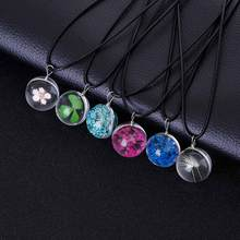 2017 Hot Fashion Crystal glass Ball Dandelion Clover Necklace Plant flower Pendant Leather Chain Necklace For Girlfriend Gift