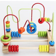 Educational Baby Kids Wooden Around Beads Toddler Infant Intelligence Toys Gift Retail Box D43