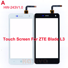 "New Black White Touch Screen For ZTE Blade L3 Glass Lens Sensor 5.0"" Front Touch Panel Replacement for the version HW-243 v1.0(China)"