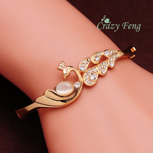 Elegent Fashion Peacock Bracelet Opal Austrian Crystal Rose Gold Color Women Cuff Bangle Free shipping Valentine's Day Gift(China)