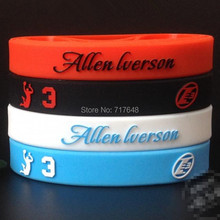 200pcs Allen Iverson Wristband Silicone Bracelets figure sport 3D logo free shipping by FEDEX express