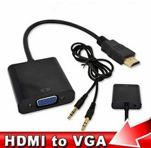 Hot Male to Female HDMI to VGA with Audio Converter Adapter Computer Cable for PC Laptop Tablet Support 1080P HDTV(China)