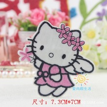 Cartoon Kids Pink Hello Kitty Iron On Patch Clothes Patch For Clothing Clothes Girls Boys Embroidered Patch(China)