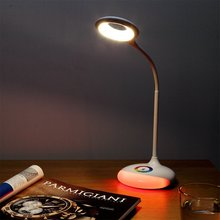 Hot 18 LED Eye Care Desk Adjustable Touch Slide Control RGB Atmosphere Lamp including USB Cable Charge Built-in Lithium Battery(China)