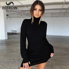 b4420b8634d AliExpress.com Product - BEFORW Long Sleeve Turtleneck Knitted Dress Women  Casual Autumn Winter Sweater Dress Female Sexy Elegant Pullover Mini Dresses