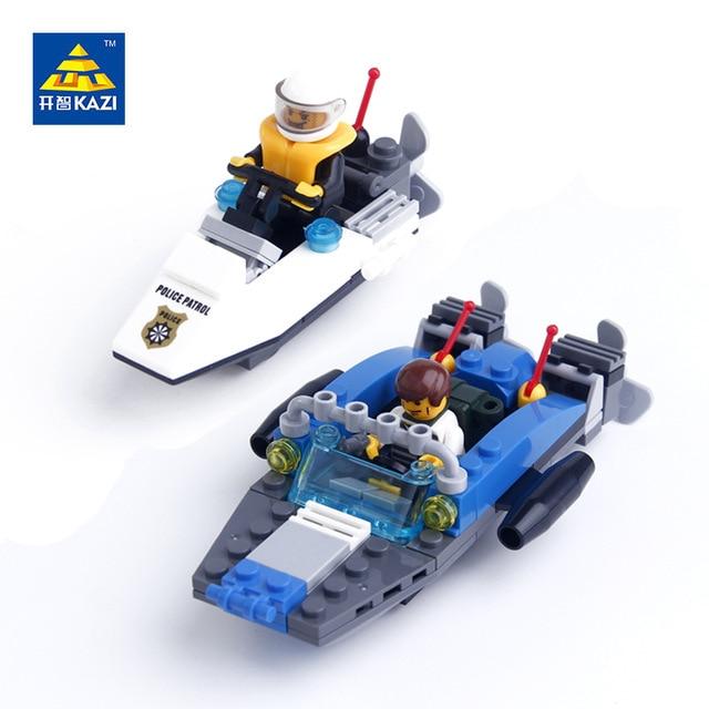 KAZI Police Marine Boat Building Blocks 125 pcs Bricks Classic Educational Gift ocean Rescue Ship Toys for Children 6733