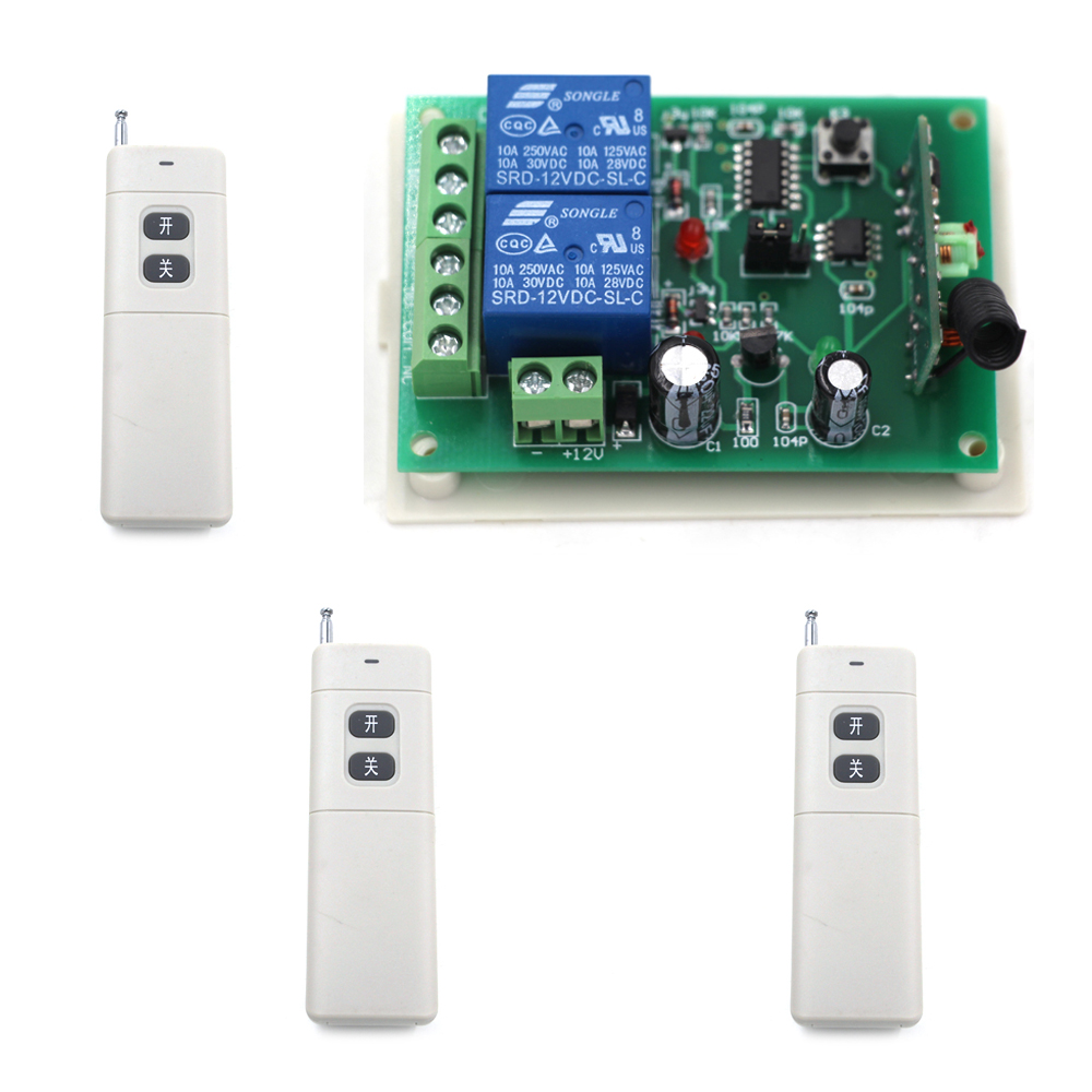 DC 9V/24V 2CH Wireless Remote Control Switch RF Remote Switches System Relay Receiver Long Range Transmitter Toggle Momentary<br>