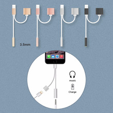 audio adapter cable for iphone 7 plus adapter 2 in 1 dans Mobile phone cable charger and headphone 3.5mm lightning jack