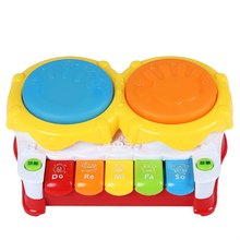 New Arrival 6 in 1 Multifunctional Early Toy 3C Children Electric Hand Drum Beat Story Piano Baby Musical Educational Tool