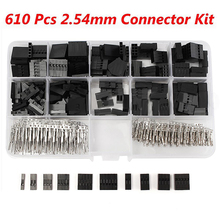 610pcs/set 2.54mm Dupont Jumper Housing Connector Header Male Female Crimp Pins Kit With Box