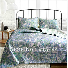 Green embroidery bedspread discount Cotton quilting qults 3pcs set king size 230*270cm bed cover summmer cool quilts bed sheets(China)