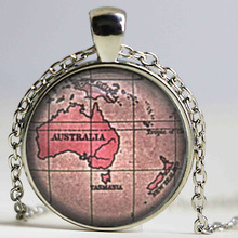 Australia and New Zealand Vintage Map Necklace, Map Jewelry Glass Cabochon Necklace