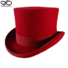LUCKYLIANJI 13.5cm Red Color Steampunk Victorian Formal Top Wool Felt Vintage Magician Fedoras Mad Hatter President Bowler Hat(China)