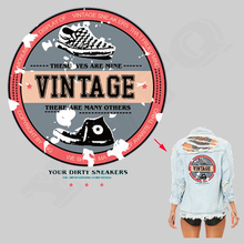 Vintage Sneakers Iron On Patch T-Shirt Polo Sweater Dress Heat Transfer Stickers A-level Washable DIY Patches For Clothing