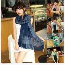 Fashion Brand Chiffon Soft Long Print Cotton Scarf Wrap Ladies Long Shawl Beautiful Scarf Women