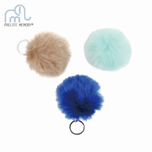 Lovely Fluffy Rabbit Ear Fur Ball Key Chain Rings Pendant Cute Pompom Artificial Rabbit Fur Keychain Women Car Bag Key Ring(China)