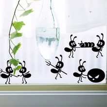 4pcs/set Furnishings wall stickers cartoon decoration glass stickers black ant on Mirror Window Stickers Baby Wall Decals D800(China)