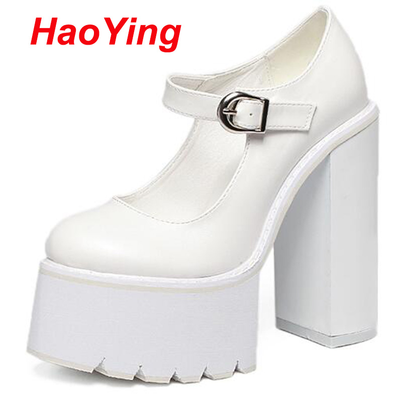 white ladies heels brand pumps platform shoes chucky heels women pumps high heels shoes for women punk shoes pumps women D417<br><br>Aliexpress