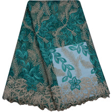 Teal Color New Arrival African Lace Fabric With Stones 2018 Latest Fabric High Quality Tulle Lace Fabric For Evening Dress 859(China)