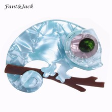 Fant&Jack Animal Style Lizard Brooches Pins Light Green Acrylic Brooch Women Man Dress Accessory Weeding Jewelry(China)