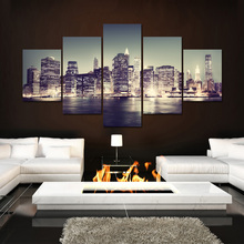 5 Panel Urban Landscape Wall Art Canvas Painting Beautiful Night View Print Picture for Living Room Bedroom Decor(China)