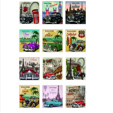 2 sheets Scenic Spot Vintage Car sticker Luggage suitcase trolley travel bag stickers rock skateboard Stickers 12label/sheets(China)
