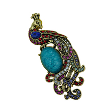 Colorful rhinestone and green resin peacock phoenix bird brooches for women girls broshy Pavlinn bird brooch jewelry  B5021