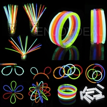 100pcs Christmas Party Concert Supplies Fluorescent Bracelets Glow Sticks Wedding Party Decoration Night Light Sticks Mix Colors(China)