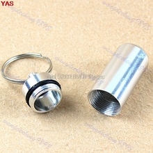 20 pcs/lot Waterproof Aluminum Pill Box Bottle Cache Drug Holder Keychain Container #H027#
