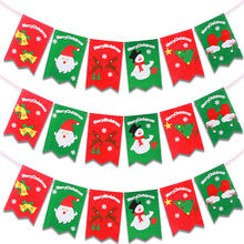 Merry Xmas 6pcs/set Christmas Decoration Flags Indoor Hanging Ornaments Santa Banner Children Gifts Craft for Home Decor SD219