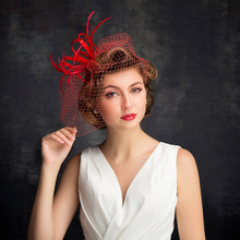 Women red feather flower fascinator ladies hair accessories wedding party cocktail Headwear girls face cover top hats