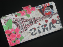 Red Car Rose Flower Eiffel Tower Design Leather Flip Wallet Pouch Cover Bag Case For Sony Ericsson Xperia Z2 D6503 New Hotsale(China)