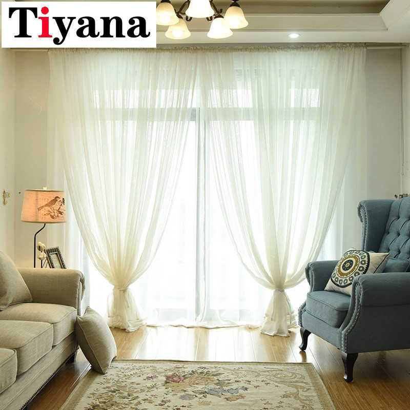 Tiyana Modern Solid Color Tulle Sheer Curtains for Bedroom Door Linen Window Screening Balcony Fashion White Voile P035D3