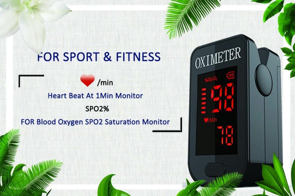 Household Health Monitors Oximeter CE Medical Heart Rate Monitor LED Fingertip Pulse Oximeter Finger Blood Oxygen-Cool Black 3