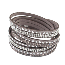 F&U Famous Brand Design Bracelets Crystal Rivet Multilayers Bracelets Little Swan Brand Different Color Bracelets for Women(China)