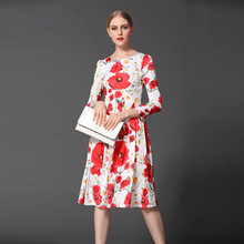 Cute Dress 2017 New Spring Fashion Women Casual New Full Sleeve Knee-Length Sunflower Print Novelty Dress