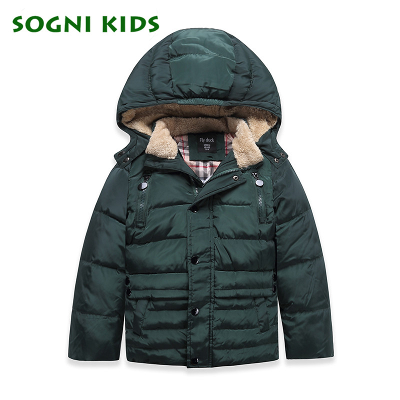 Fashion Children Boys Girls Down Coats 2017 Winter Kids Green Jacktet Warm Fleece Hooded Outfits Duck Clothes Thicken Clothing<br>