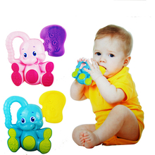 1PC Cute Deer Elephant Animals Plastic Baby Kids Toys Hand Jingle Shaking Bell Rattles Mobiles Toddler Music Toys for Children
