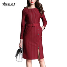 Women Striped Bodycon Dress Long Sleeve Autumn Blue Red Ladies Office Dress With Belt Side Split Work Clothing 2016