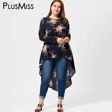 PlusMiss Plus Size 5XL Floral Print High Low Hem Blouse Shirt Women Clothing Long Sleeve Asymmetrical Chiffon Loose Tops Blusas(China)