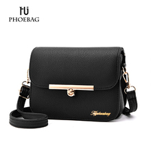 HJPHOEBAG Hot sale women shoulder bags Fashion solid cover bags for girls Ladies More color PU leather crossbody bag XB-K190(China)
