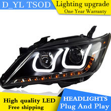 D_YL Car Styling for Toyota Camry Headlights 2012-2014 Camry LED Headlight DRL Lens Double Beam H7 HID Xenon bi xenon lens