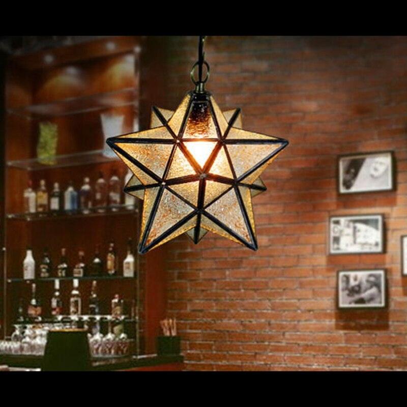 Loft Vintage Ceiling Lamp, Shooting Star Tiffany Glass Pendant Lighting for Home Aisle Corridor Porch Shop Decoration luminaire<br>