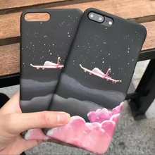 Frosted Hard PC Candy Pink Clouds Airplane Case For iPhone 6 6s Plus 7 7 Plus  Fashion Retro Cartoon Covers for iphone 6 Coque