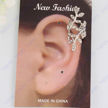Retro Punk Silver Leaf Piercing left Earring jackets leaves flower Free shipping TAIERS(China)