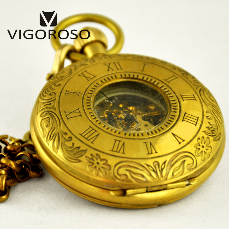 Luxury Old Copper Roman Numerals Carved Analog Mechanical Pocket Watch Hand Winding Antique Vintage Watches Fob Chain Clock 3026<br>