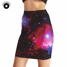 2017 Hot Sale Sexy Girl Women Mini Skirt Galaxy Starry Sky Rose Black 3D Print Skater Miniskirt Evening Sexy Mini Tight Skirt
